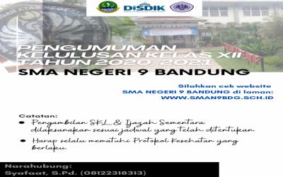 Pengumuman untuk kelas XII SMA Negeri 9 Bandung Tahun 2020/2021